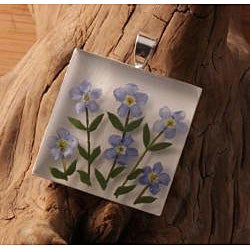 Forget-Me-Not Bouquet Square Silver-Plated Pendant (Mexico)