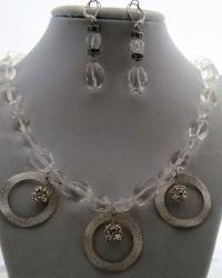 Elegant Crystal Quartz Necklace and Earring Set