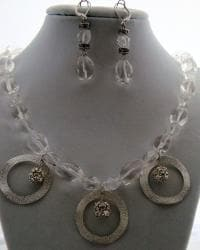Elegant Crystal Quartz Necklace and Earring Set