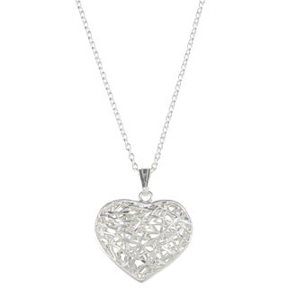 La Preciosa Sterling Silver Open Diamond Cut Heart Necklace