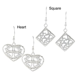 La Preciosa Sterling Silver Diamond-Cut Heart Earrings