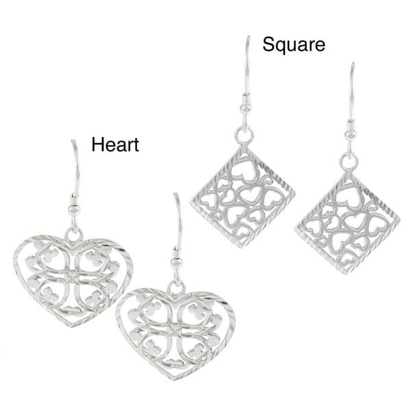 La Preciosa Sterling Silver Diamond-Cut Heart Earrings