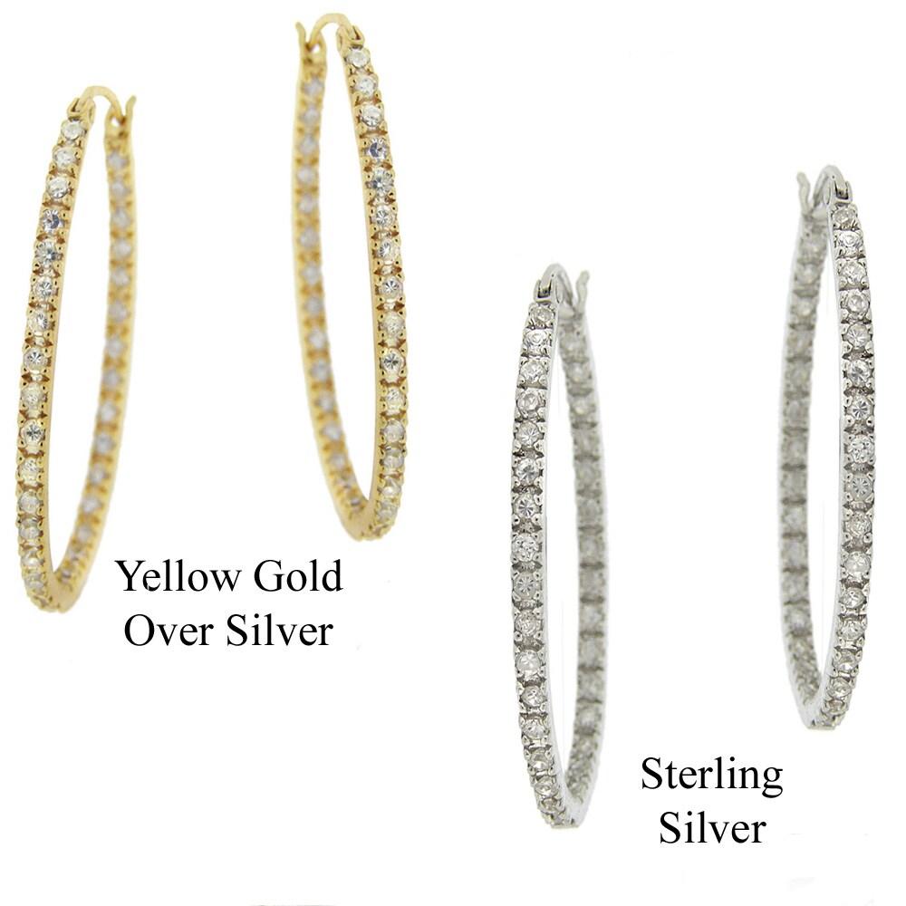 Icz Stonez Sterling Silver Cubic Zirconia Inside Out Hoop Earrings (1 1/2ct TGW)