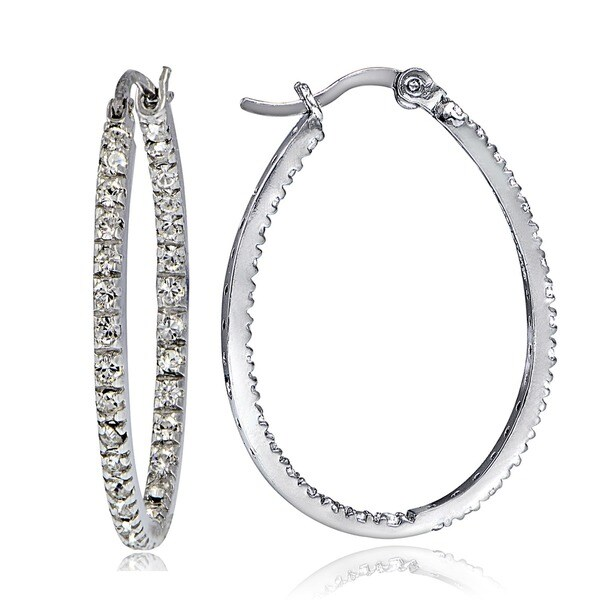 Icz Stonez Sterling Silver Cubic Zirconia Inside Out Hoop Earrings (1 1/2ct TGW)