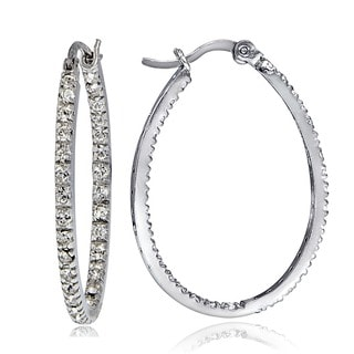 Icz Stonez Sterling Silver 1 1/2ct TGW Cubic Zirconia Inside-out 30mm Oval Hoop Earrings