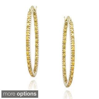 Icz Stonez Sterling Silver Cubic Zirconia Hoop Earrings (1 1/2ct TGW)