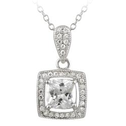 Icz Stonez Sterling Silver Cubic Zirconia Square Necklace (2 1/2ct TGW)