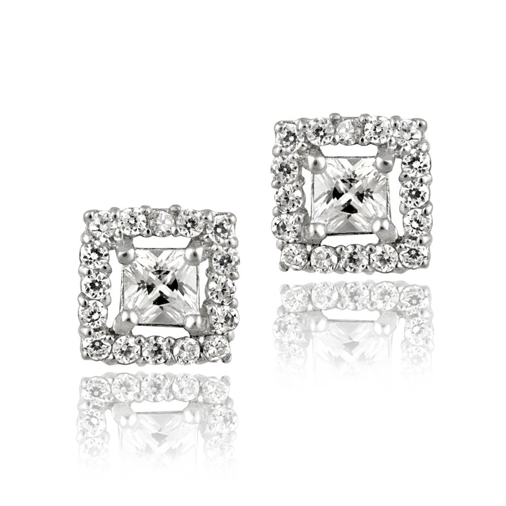 Icz Stonez Sterling Silver Cubic Zirconia Square Earrings (2ct TGW)