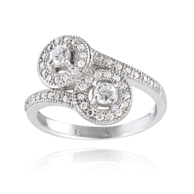 Icz Stonez Sterling Silver Cubic Zirconia Twist Circle Ring (3/4ct TGW)