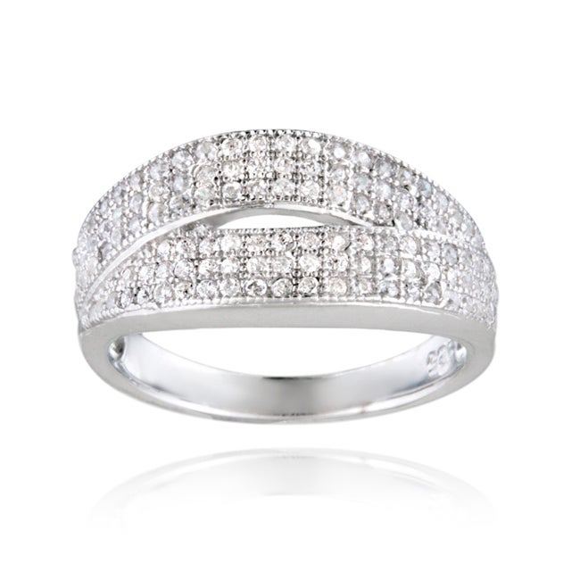 Icz Stonez Sterling Silver Cubic Zirconia Crossover Ring (1 1/6ct TGW)