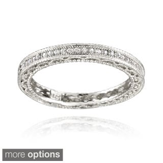 Icz Stonez Sterling Silver CZ 3/4ct TGW Eternity Wedding Ring