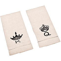 Saro Hemstitched King and Queen Bar Towels