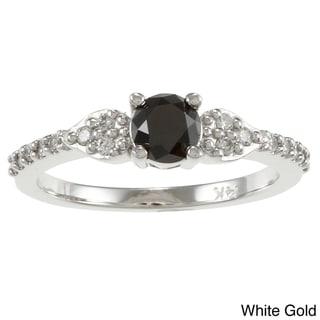Auriya  14k Gold 2/3ct TDW Round Black and White Diamond Ring (G-H, I1-I2)