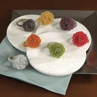 Saro Beaded Flower Napkin Rings (Set of 4)