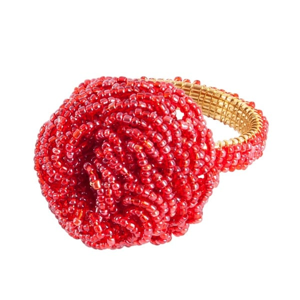 Saro Beaded Flower Napkin Rings (Set of 4)