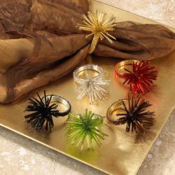 Decorative Colorful Beaded Metal Napkin Rings (Set of 4)