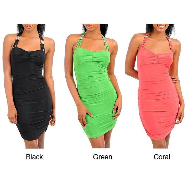 Stanzino Women's Triple-Strap Halter Mini Dress