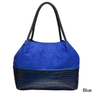 Mondani Wagner Colorblock Croco Embossed Tote Bag