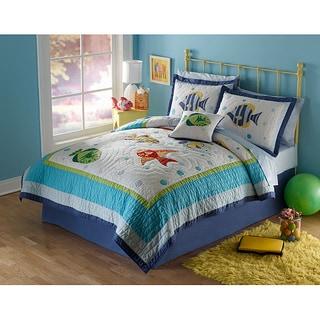 Colorful Sea Applique 3-piece Quilt Set