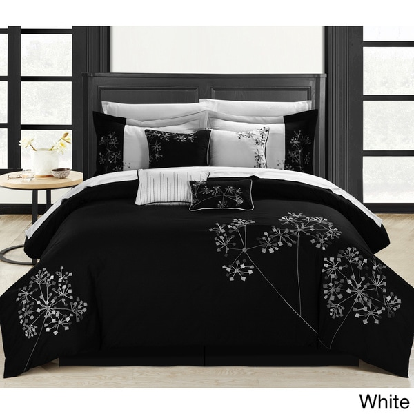 black floral 8 piece embroidered comforter set 14313855 shopping great deals. Black Bedroom Furniture Sets. Home Design Ideas