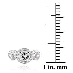 Icz Stonez Sterling Silver Cubic Zirconia 3-stone Engagement Ring (3 1/10ct TGW)