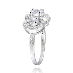 Icz Stonez Sterling Silver Cubic Zirconia Oval Three Stone Engagement Ring (2ct TGW)