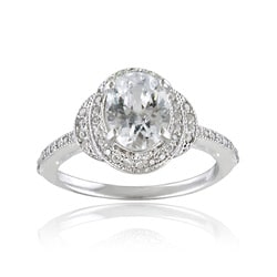 Icz Stonez Sterling Silver Cubic Zirconia Oval Solitaire Engagement Ring (2 1/2ct TGW)