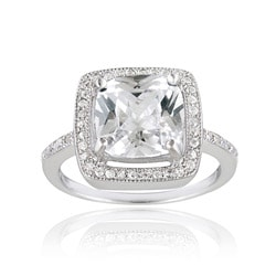 Icz Stonez Sterling Silver Cubic Zirconia Square Solitaire Engagement Ring (7 1/2ct TGW)