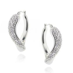 Icz Stonez Sterling Silver Clear Crystal Twisted Hoop Earrings