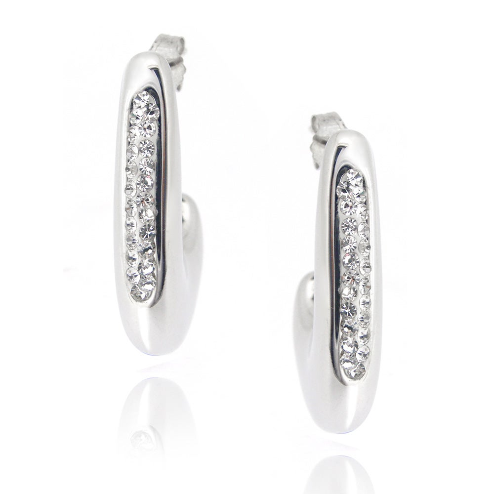 Icz Stonez Sterling Silver Clear Crystal Open Hoop Earrings