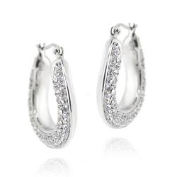 Icz Stonez Sterling Silver Clear Crystal Flat Hoop Earrings