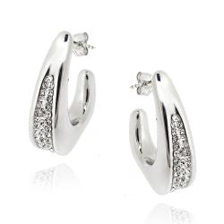 Icz Stonez Sterling Silver Clear Crystal Triangle Huggie Earrings
