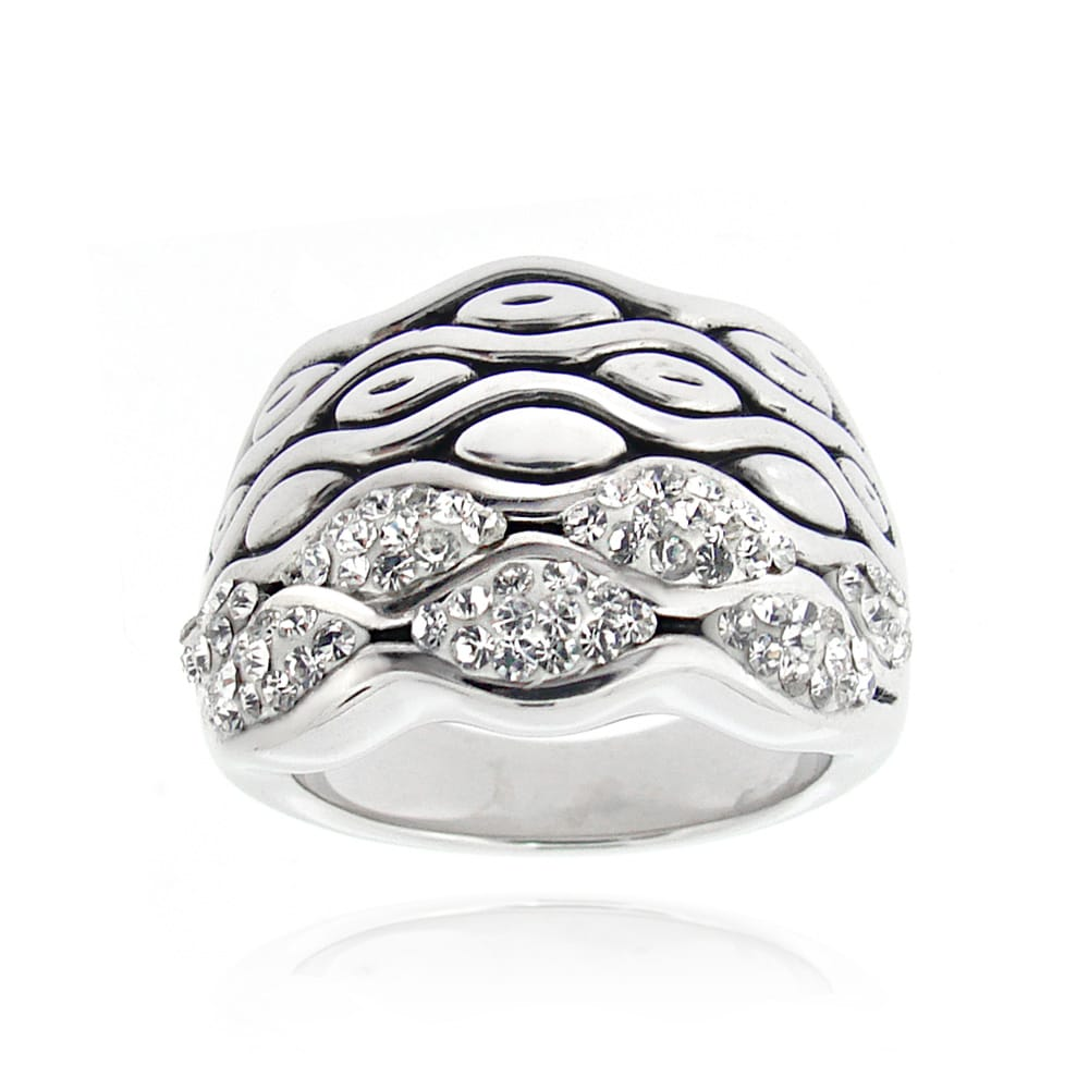 Icz Stonez Sterling Silver Clear Crystal Wave Ring