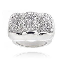 Icz Stonez Sterling Silver Clear Crystal Scalloped Ring