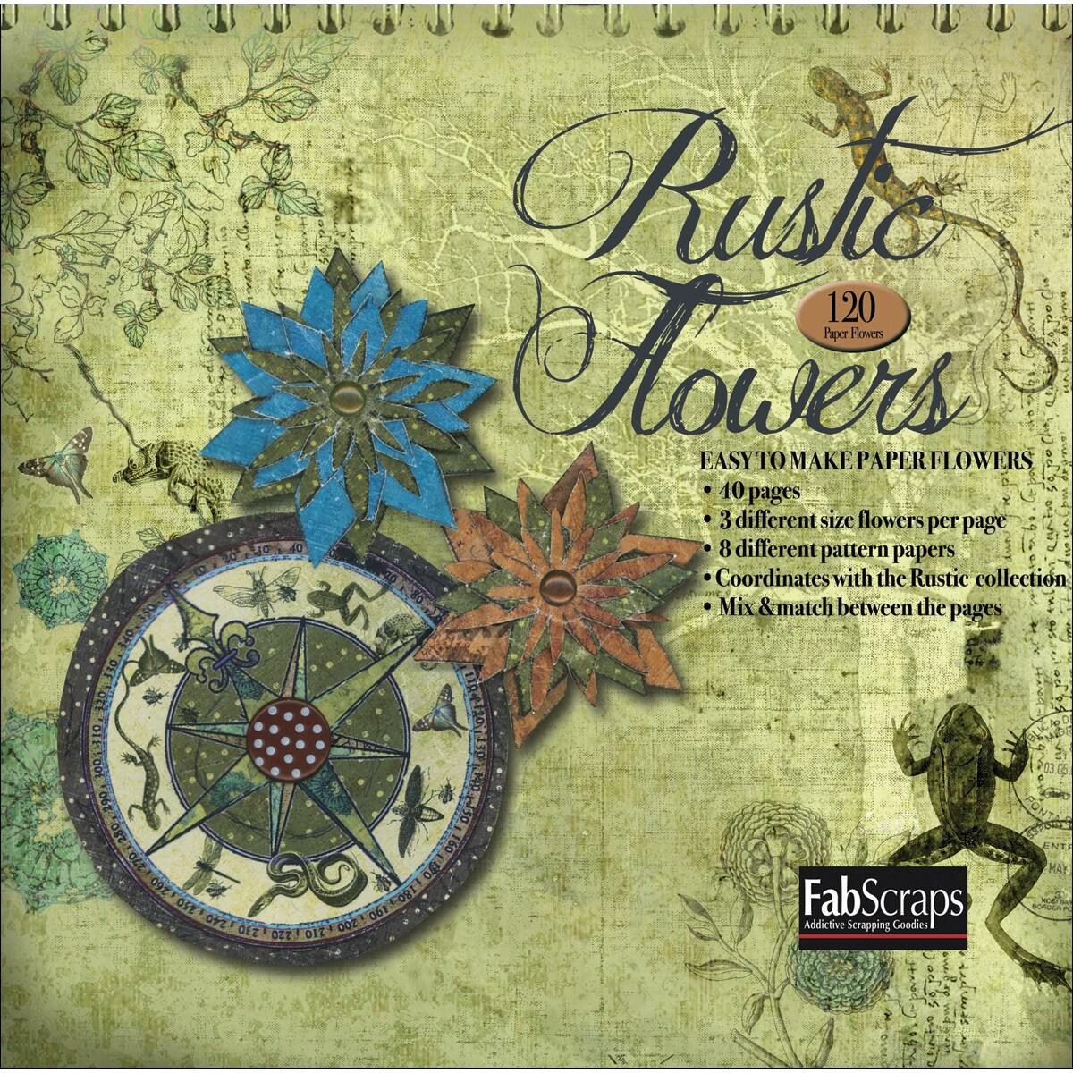 Fabscraps Rustic Paper Flowers Die-cut Pad - Makes 120 Flowers
