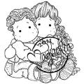Sweet Crazy Love Cling Stamp-Cuddly Siblings