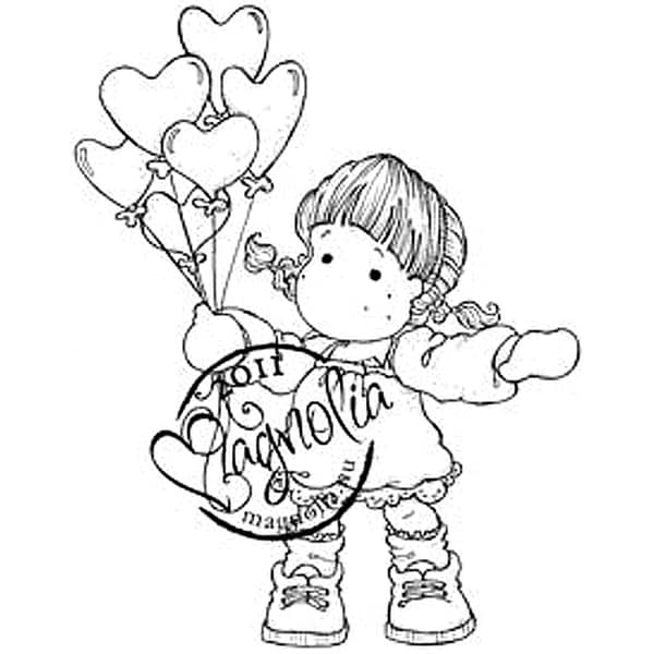 Sweet Crazy Love Cling Stamp-Tilda With Heart Balloons