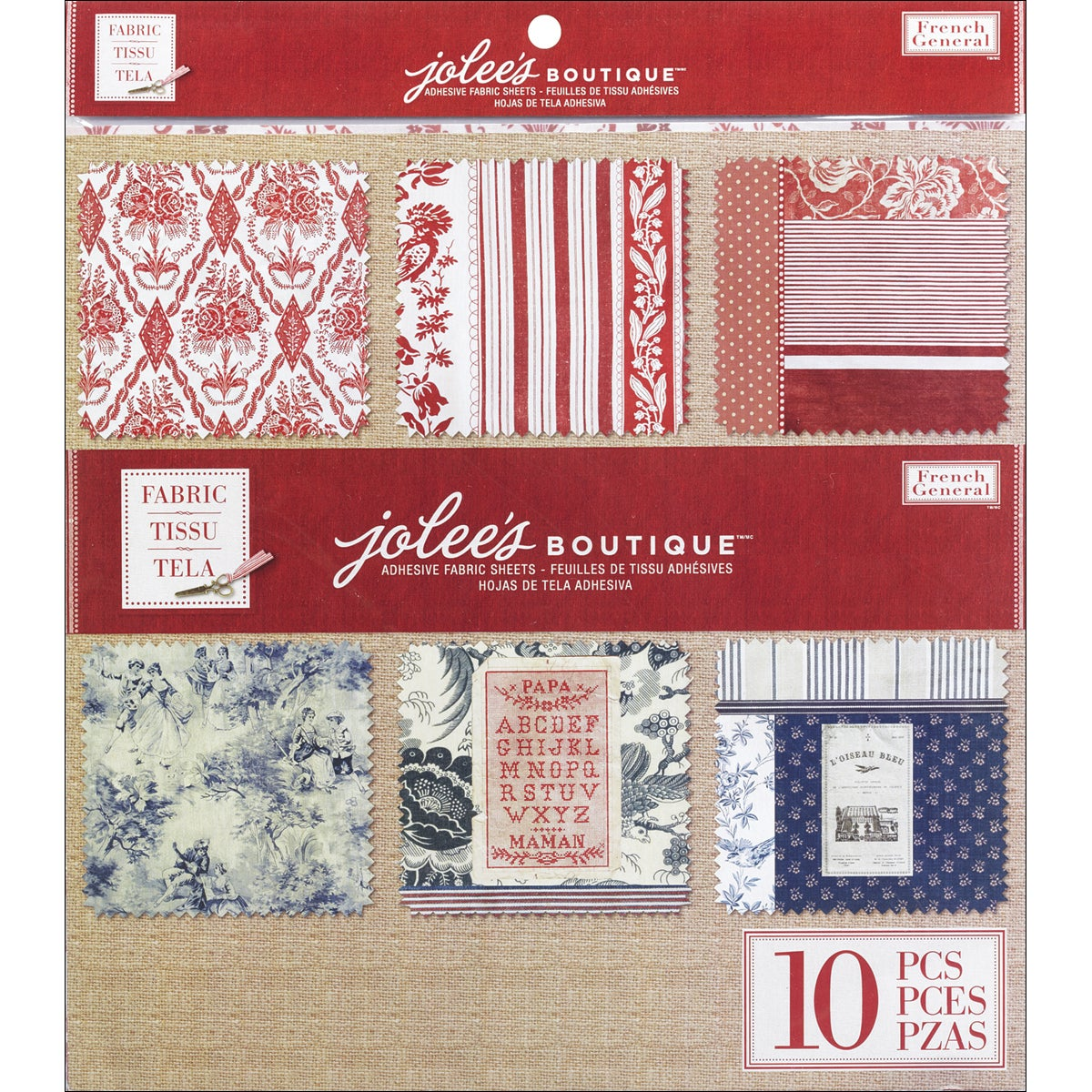 """French General Adhesive Fabric Sheets 12""""X12""""-10/Pkg"""