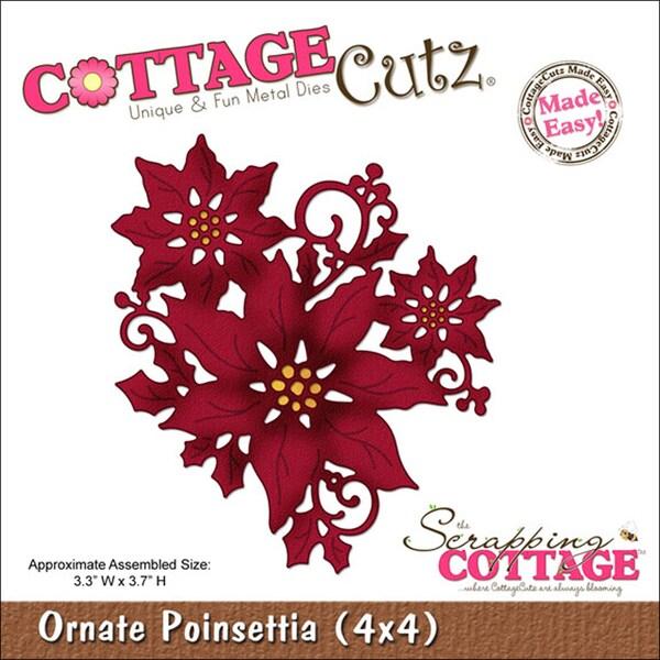 "CottageCutz Die 4""X4""-Ornate Poinsettia Made Easy"