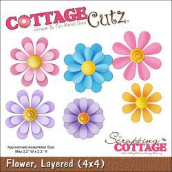 """CottageCutz Die 4""""X4""""-Layered Flower"""