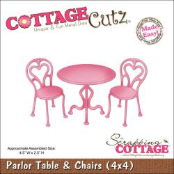 "CottageCutz Die 4""X4""-Parlor Table & Chairs Made Easy"