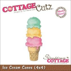 "CottageCutz Die 4""X4""-Ice Cream Cone Made Easy"