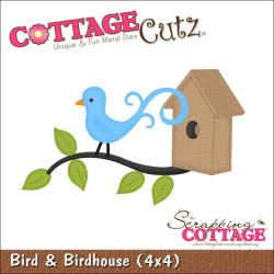 "CottageCutz Die 4""X4""-Bird & Birdhouse"