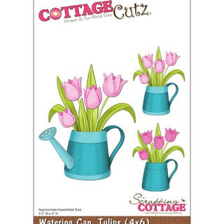 """CottageCutz Die 4""""X6""""-Watering Can With Tulips"""