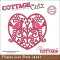 "CottageCutz Die 4""X4""-Filigree Love Birds Made Easy"