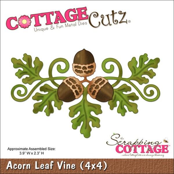 """CottageCutz Die 4""""X4""""-Acorn Leaf Vine"""