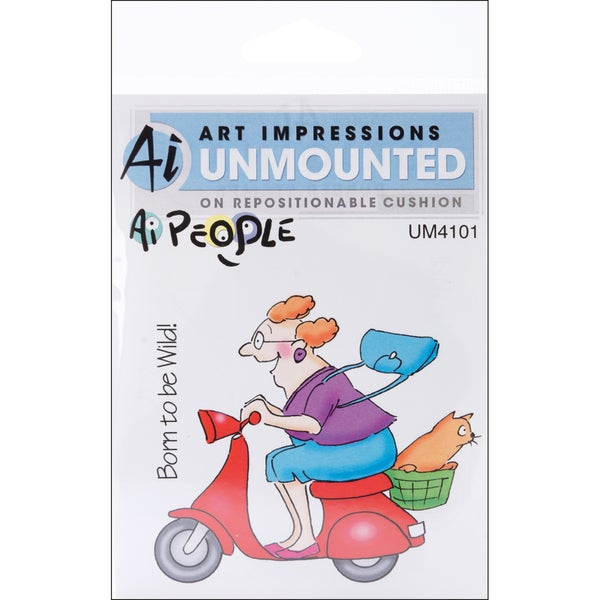 Art Impressions People Cling Rubber Stamp-Mad Rider Set