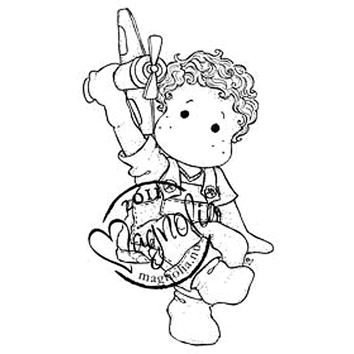 Princes & Princesses Cling Stamp-Edwin With Airplane