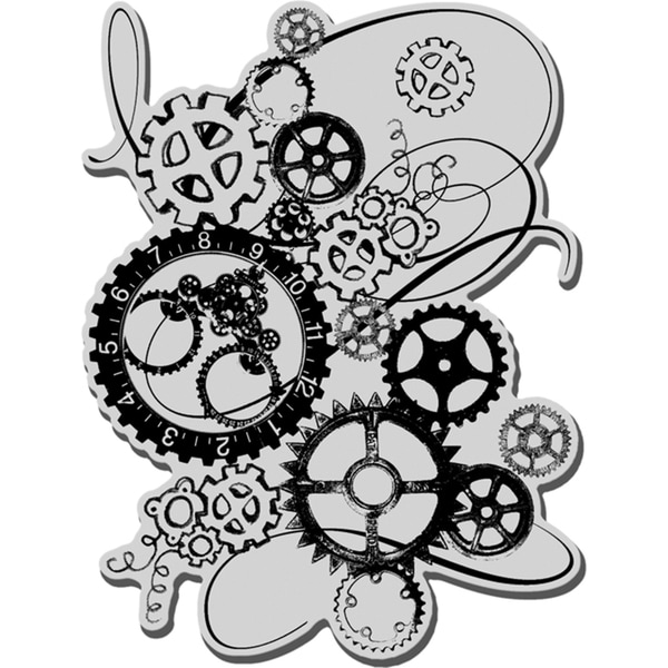 Stampendous Cling Rubber Stamp-Clock Works