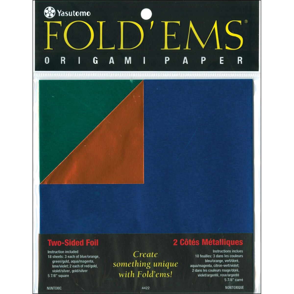 Fold 'ems Origami Double-Sided Foil Paper 18/Pkg